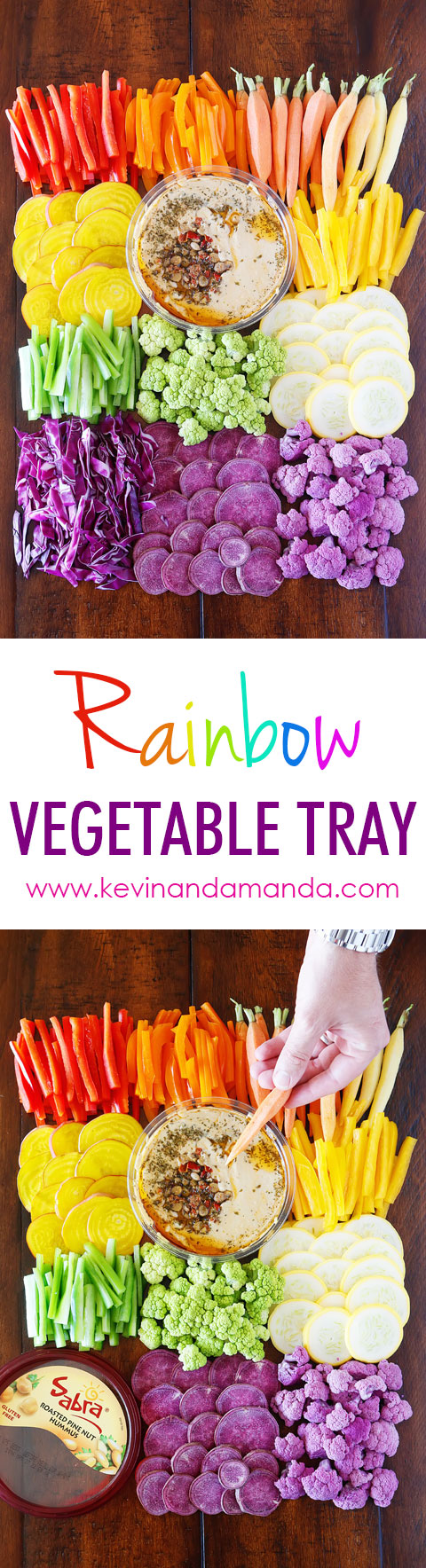 Quick and Easy Rainbow Vegetable Tray! So fun and a GREAT healthy alternative for snacking!