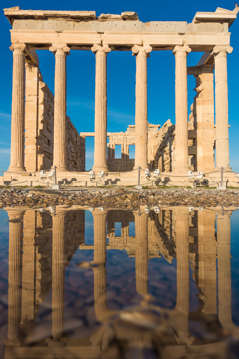 Reflection of the Erechtheion at the Acropolis of Athens