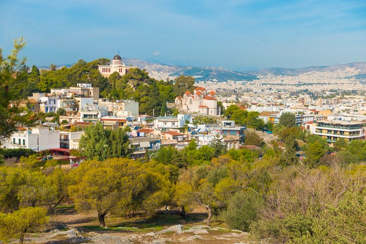 View from Areopagus Hill in Athens Greece