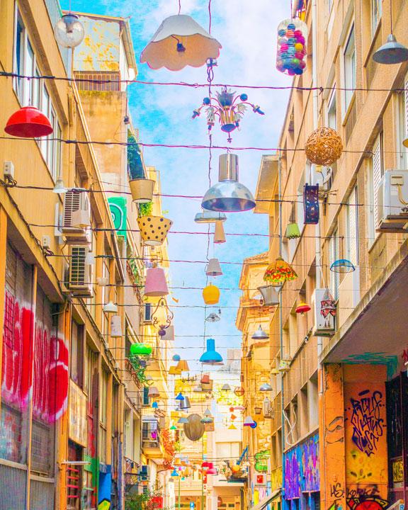 Lantern Street in Athens Greece