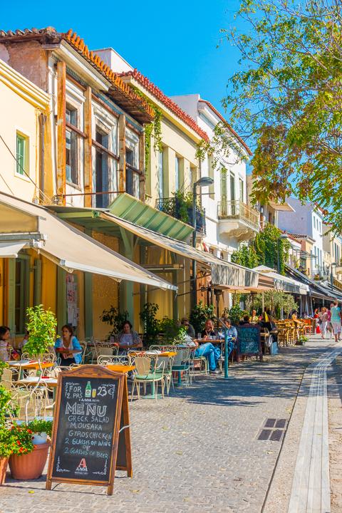 Restaurant street in Monastiraki neighborhood in Athens Greece