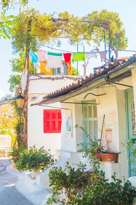 Historic Plaka neighborhood in Athens Greece