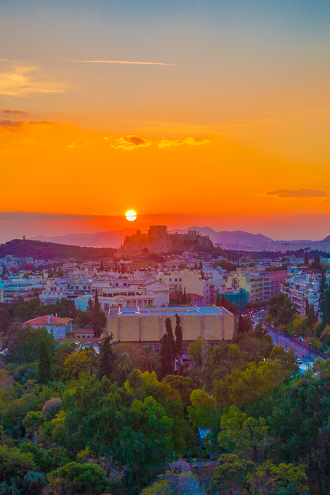 Sunset view in Athens Greece
