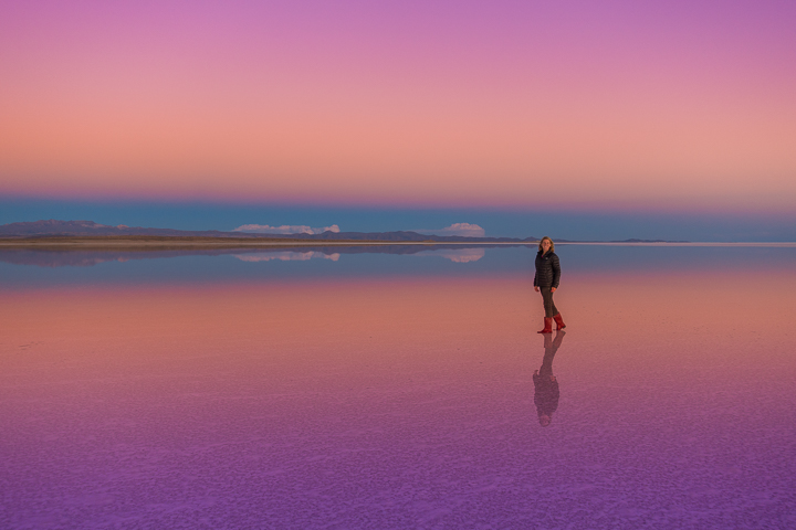 Salt Flats Bolivia — Sunset reflection at the Salar De Uyuni