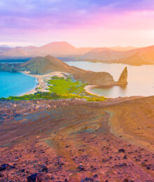 Ultimate Guide to the Galapagos Islands! Where to swim with sea lions, penguins, sea turtles, sharks, giant manta rays, and where to find the volcanic black and red sand beaches. #Santiago #Rabida #Bartolomé #Ecuador
