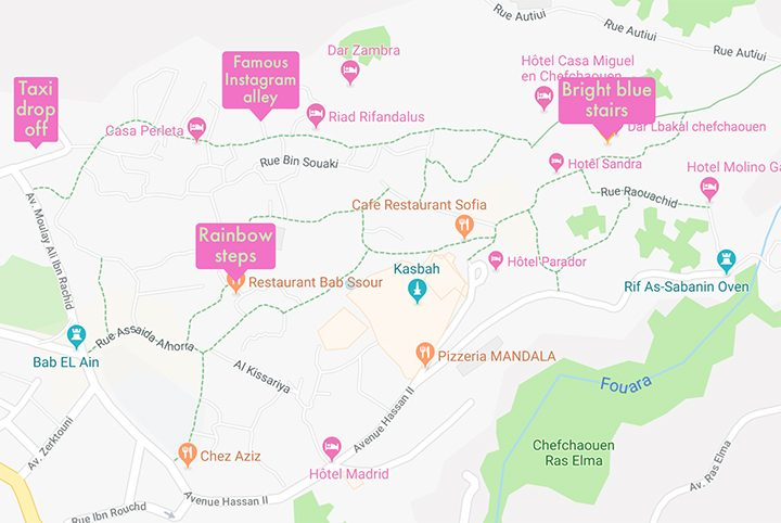 Chefchaouen, Morocco: A map to all the Instagram locations in the famous Blue City!