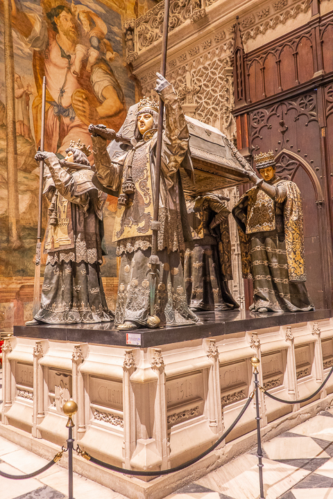 Christopher Columbus Tomb at Seville Cathedral in Seville Spain