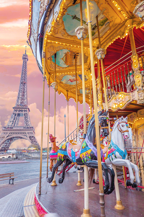 Sunset at the Eiffel Tower with carousel — The BEST Things To Do In Paris If You Only Have One Day!!
