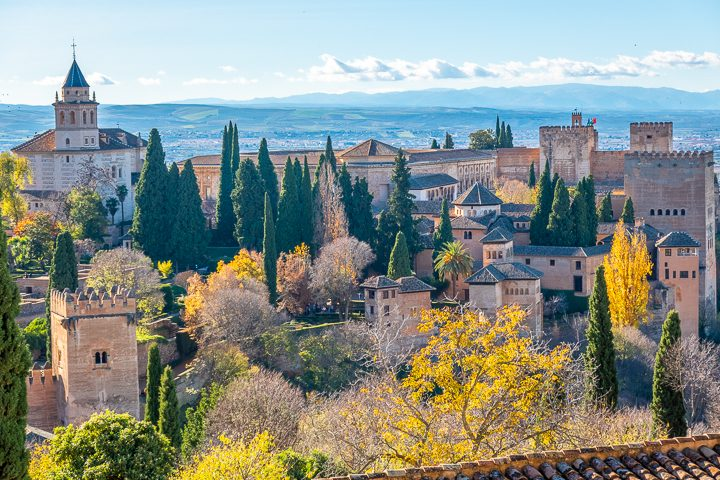 View of the Alhambra from Generalife in Granada Spain