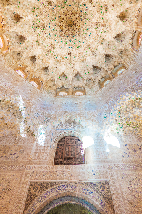 Ceiling at the Alhambra in Granada Spain