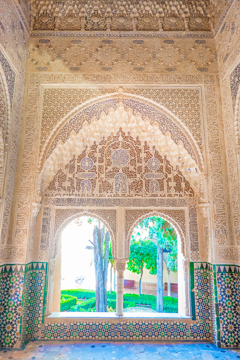 Inside the Nasrid Palaces at the Alhambra in Granada Spain