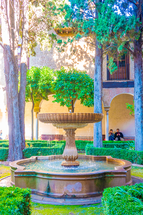 Fountain at the Alhambra in Granada Spain