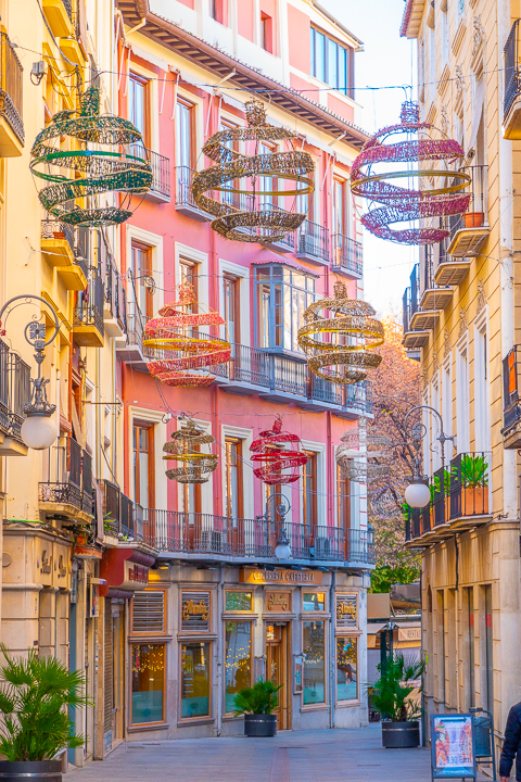 Christmas decorations in Granada Spain