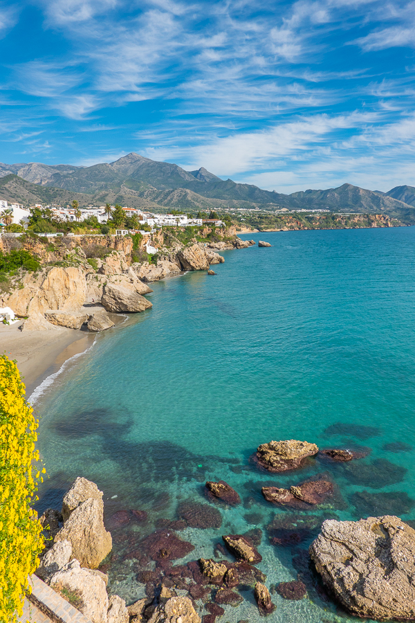 View from Balcón de Europa in Nerja Spain