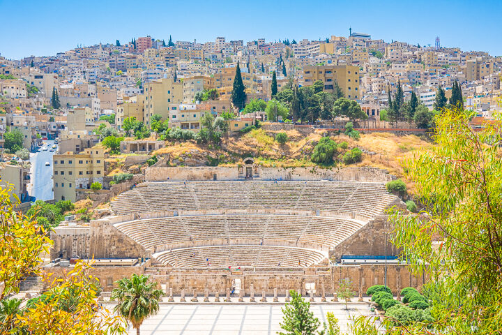 View of Roman Theatre in Amman Jordan