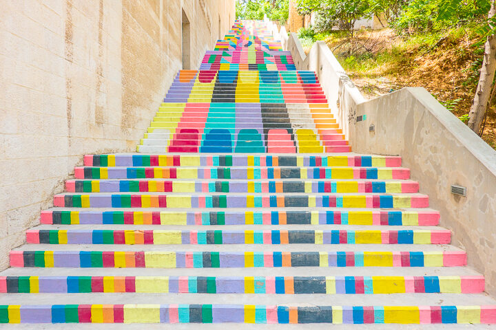 Rainbow Stairs in Amman Jordan