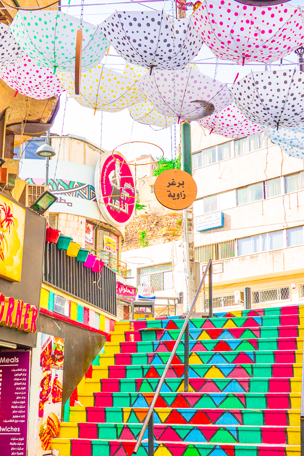 Umbrella street and Rainbow Stairs in Amman Jordan