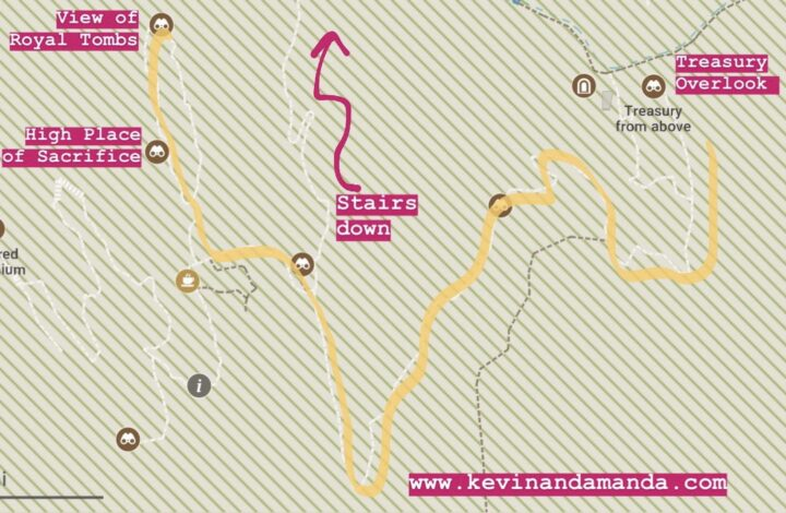 Petra Map -- Hiking Trail -- Back Way to High Place of Sacrifice