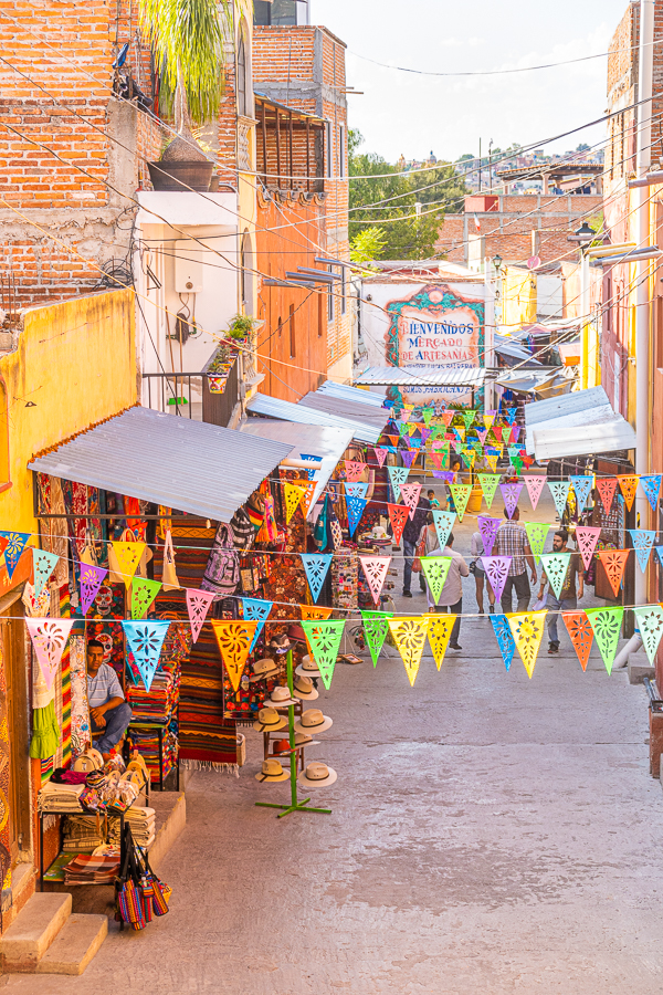 Street with colorful flags in Mexico