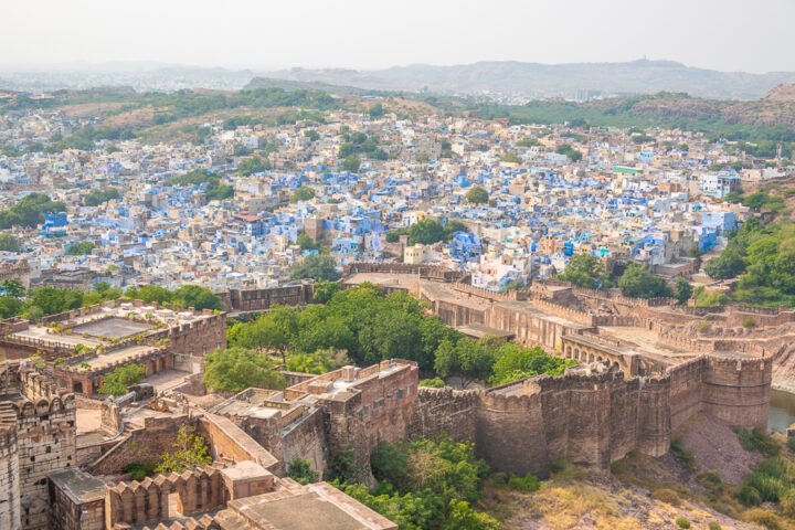 View of all the blue homes in Jodhpur, India.