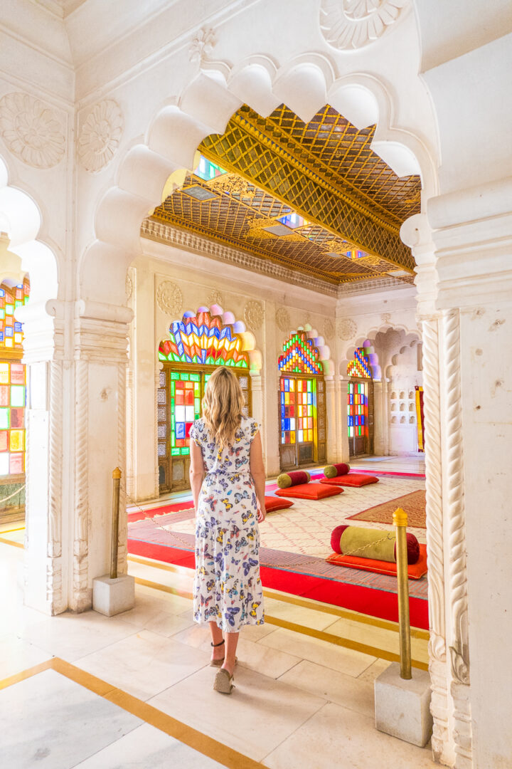 Woman inside beautiful palace in Jodhpur, India