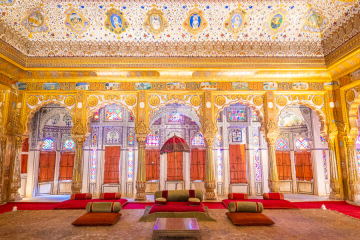 Inside the Phool Mahal palace in India