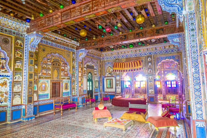 View of the inside of the Takhat Vilas palace in India