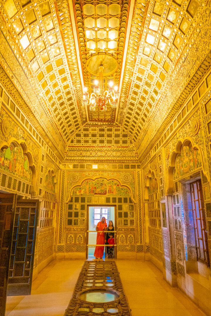 View of the inside of the Sheesh Mahal palace in India