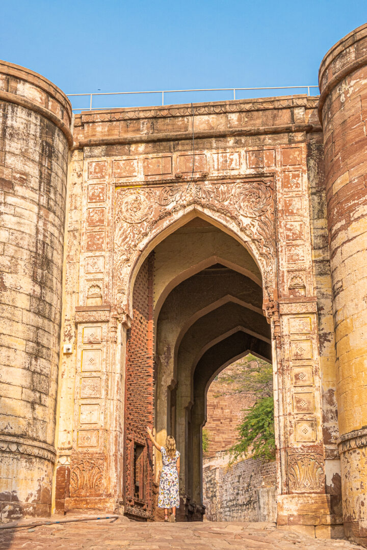 View of gate to Mehrangarh Fort