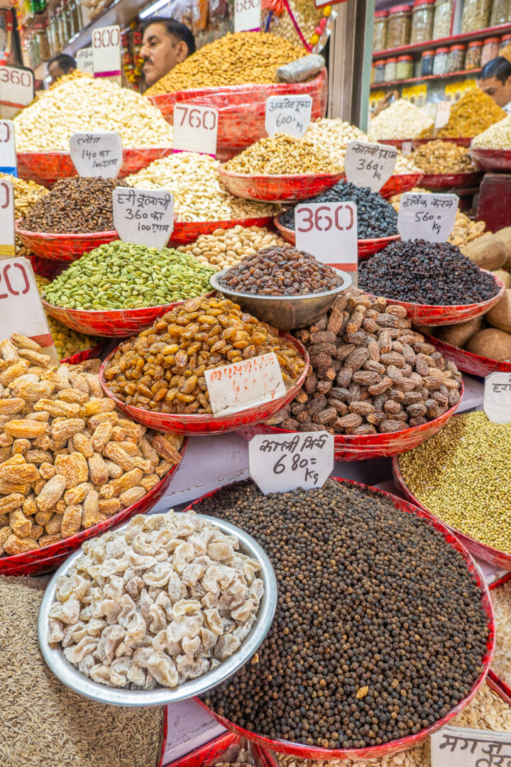 Nuts and Spices at Chandni Chowk Market in New Delhi