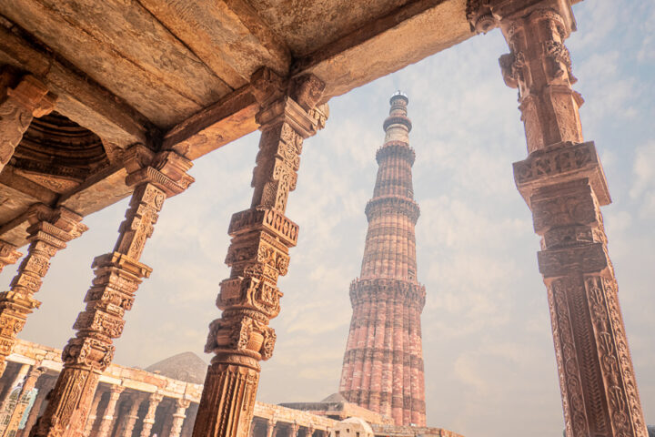 Columns at Qutub Minar in New Delhi