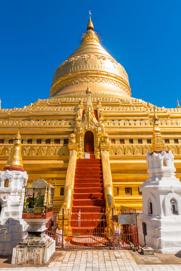Image from below of the gold plated Shwezigon Pagoda in Bagan, Myanmar.
