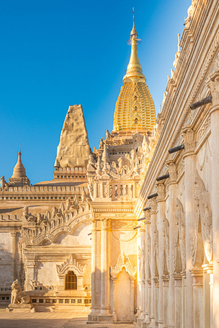 Outside view of the Ananda Temple in Bagan, Myanmar.