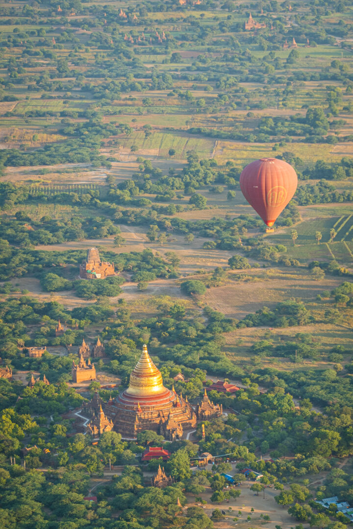 View of the Land of 3000 Pagodas, Bagan Myanmar from hot air balloon.