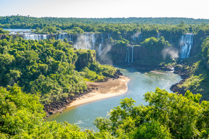 Aerial view of Iguazu Falls from the Brazil side.