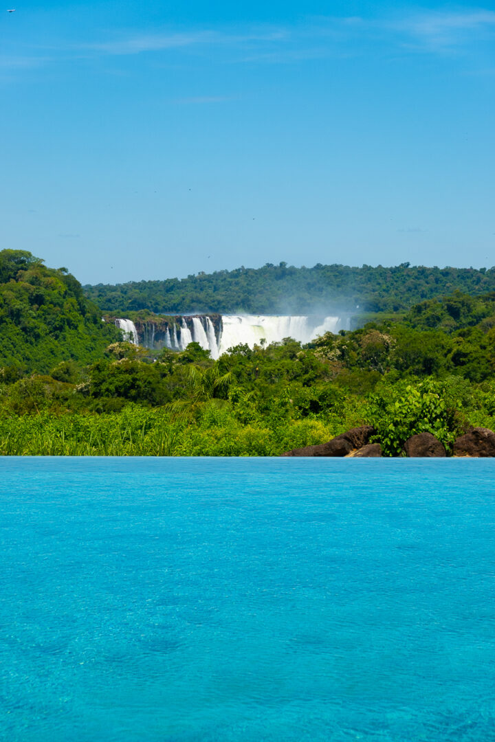 View of Iguazu Falls from Grand Melia Iguazu hotel infinity pool..