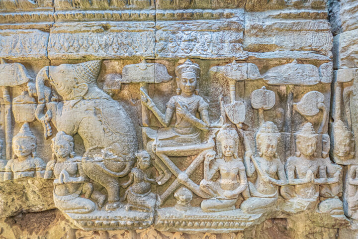 Intricate carvings at Bayon Temple Cambodia