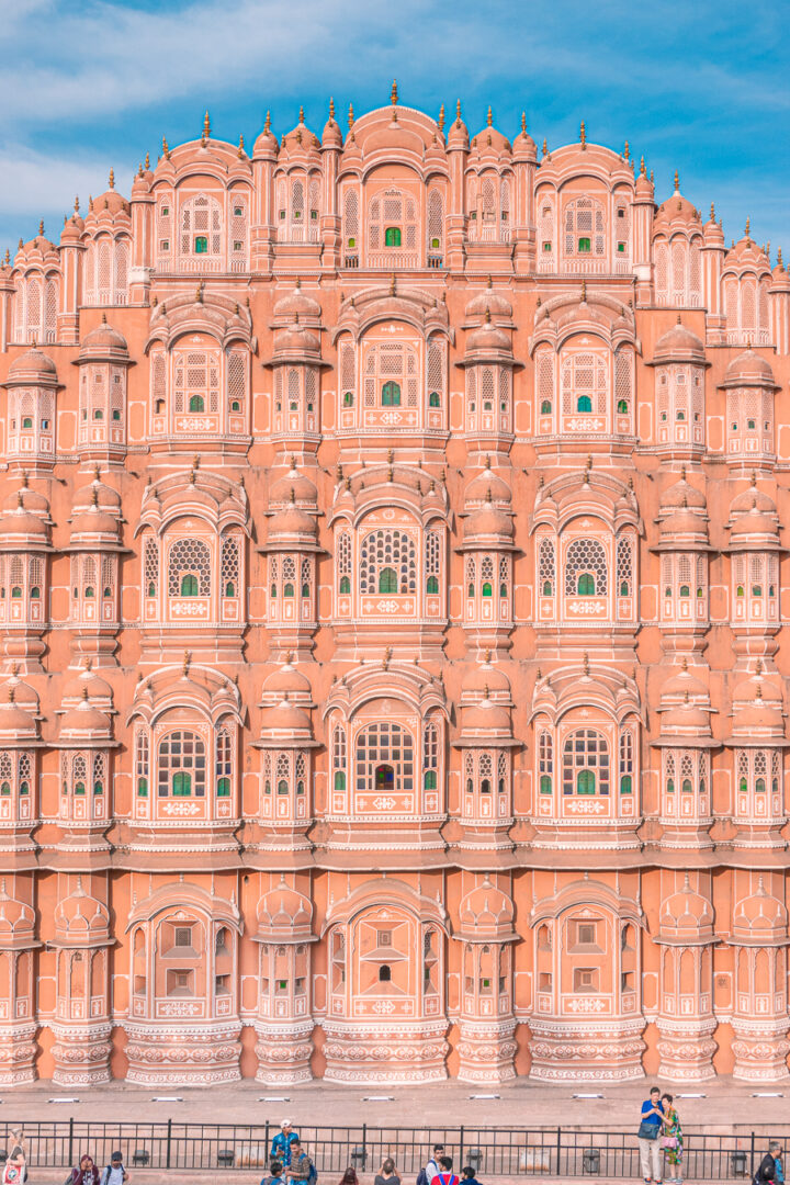 The outside of a palace in Jaipur, the Pink City of India.