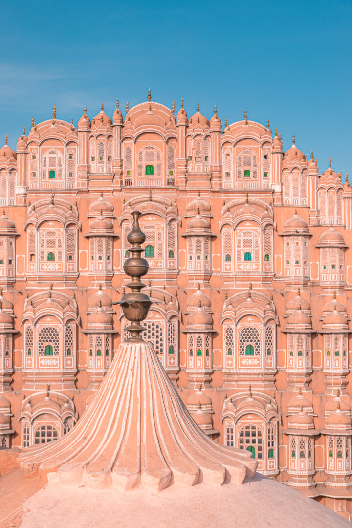 The outside of the Hawa Mahal, or Pink Palace in Jaipur, India
