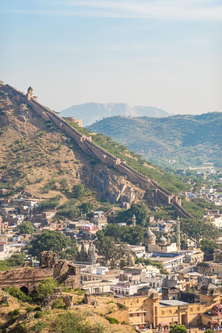22 mile long wall surrounding Jaipur.