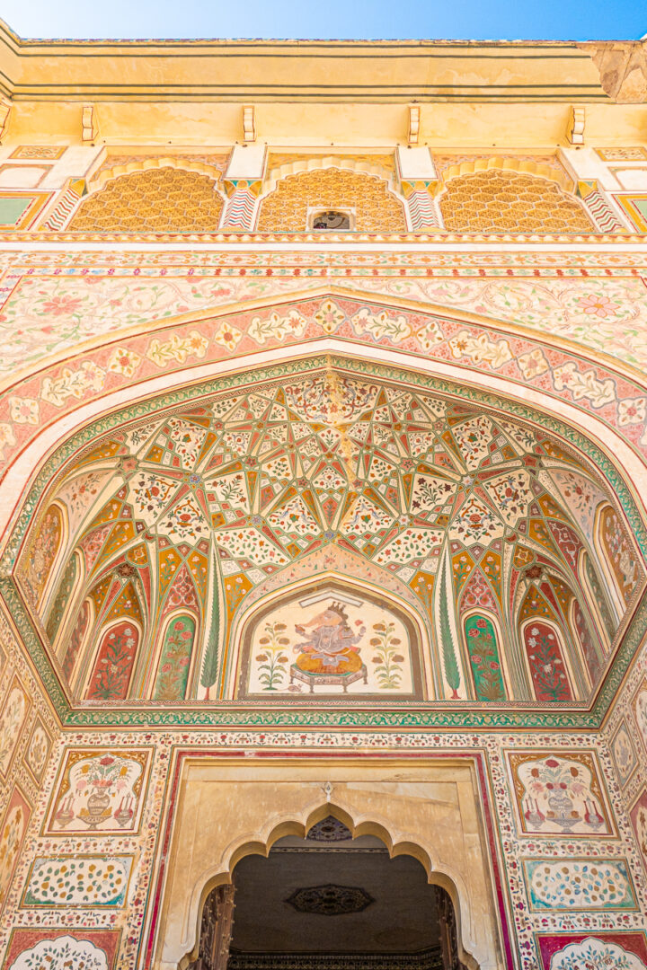The detailed entrance of the Amber Palace in Jaipur, India.