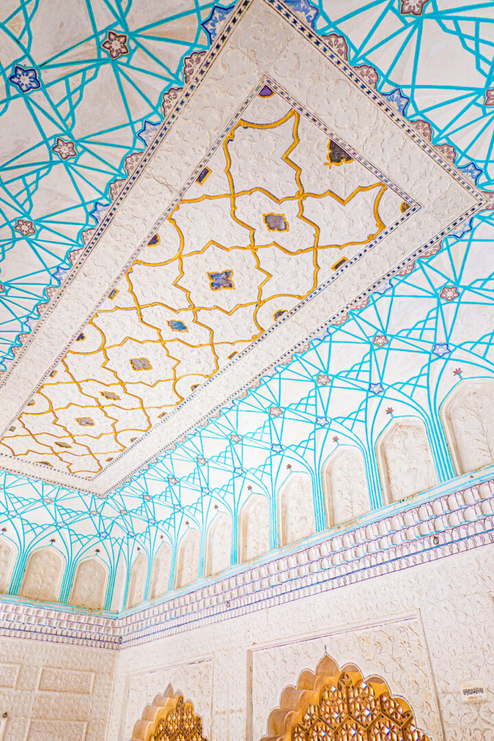 A beautiful blue and white ceiling inside the Amber Palace.