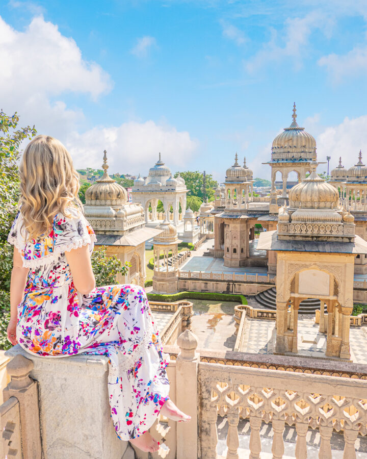 A visitor admiring the royal tombs in Jaipur