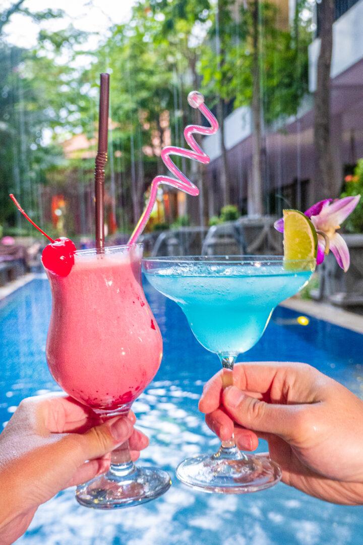 Poolside drinks at Golden Temple Retreat Siem Reap Hotels