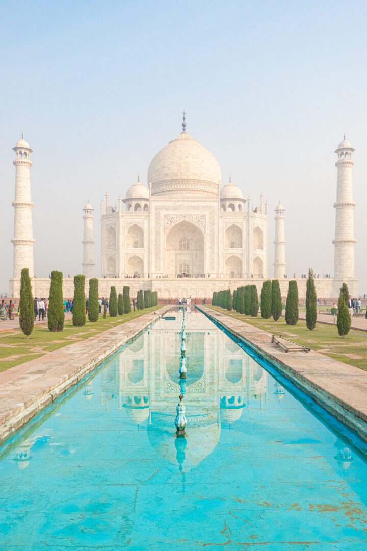 Image of the Taj Mahal from the edge of the reflecting pool.