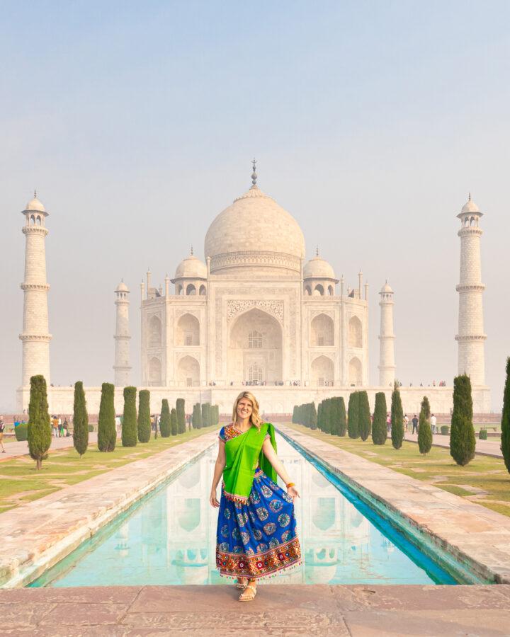 Woman in front of the Taj Mahal