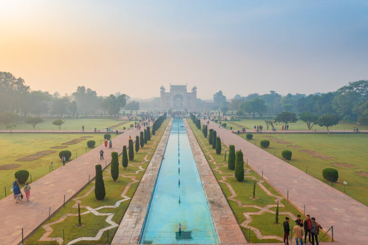 View of the gardens from the terrace of the Taj Mahal