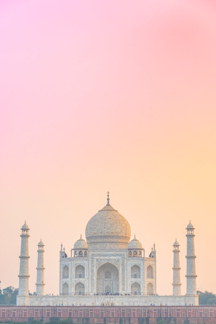 Sunset view of the Taj Mahal from across the river.