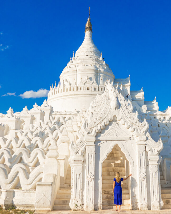 View of the White Temple Myanmar from the bottom of the 7 eaves.