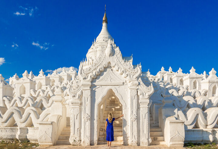 View of the White Temple at Myanmar from a further distance.